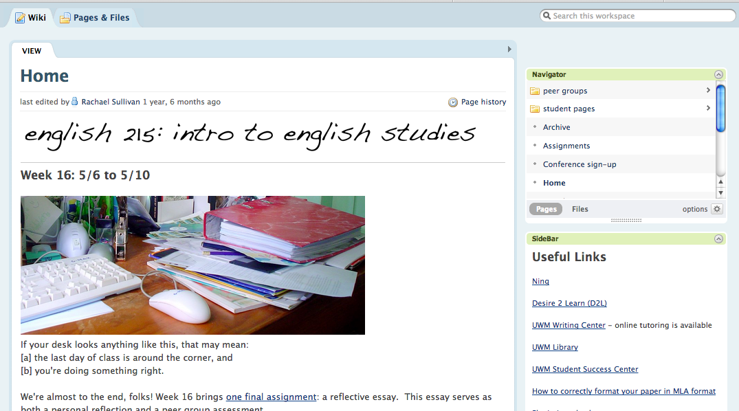 English 215 course site preview